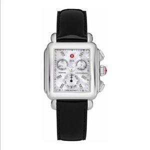 Michele Watch Deco Signature Diamond Black Patent